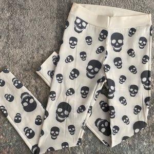 Cute Halloween grey skull off white leggings